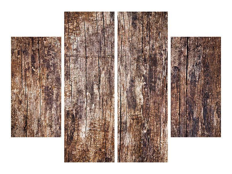 Aluminiumbild 4-teilig Retro-Holz