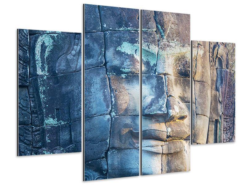Aluminiumbild 4-teilig Buddha Statur