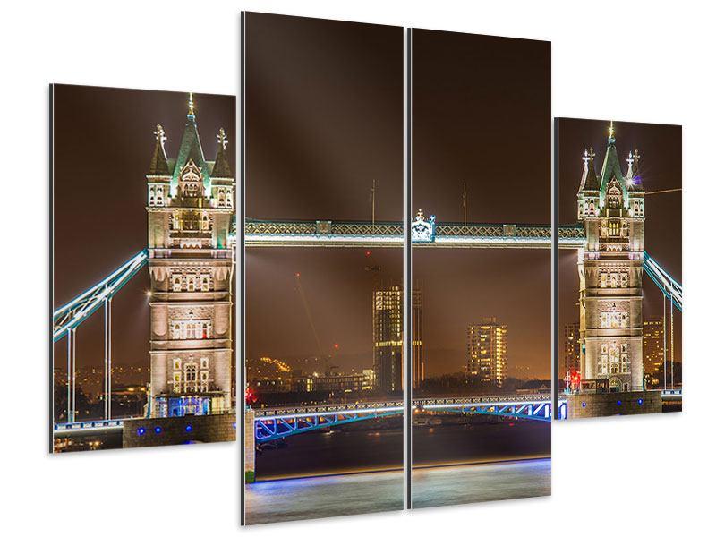 Aluminiumbild 4-teilig Tower Bridge bei Nacht