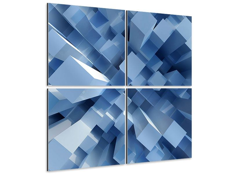 Aluminiumbild 4-teilig 3D-Säulen