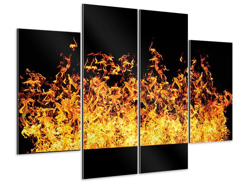 Aluminiumbild 4-teilig Moderne Feuerwand
