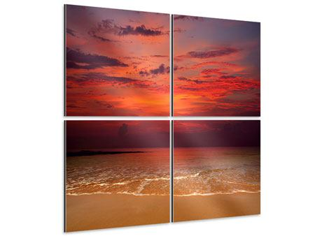 Aluminiumbild 4-teilig Zeile auf den Sand