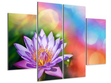 Aluminiumbild 4-teilig Colored Lotus
