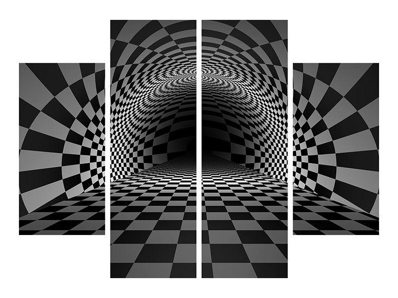 Aluminiumbild 4-teilig Abstraktes Schachbrett