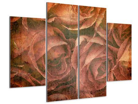 Aluminiumbild 4-teilig Rosenbukett