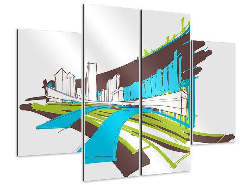 Aluminiumbild 4-teilig Graffiti Street-Art