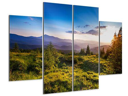 Aluminiumbild 4-teilig Friedliche Landschaft