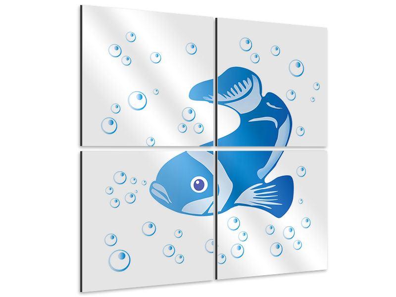 Aluminiumbild 4-teilig Fischi