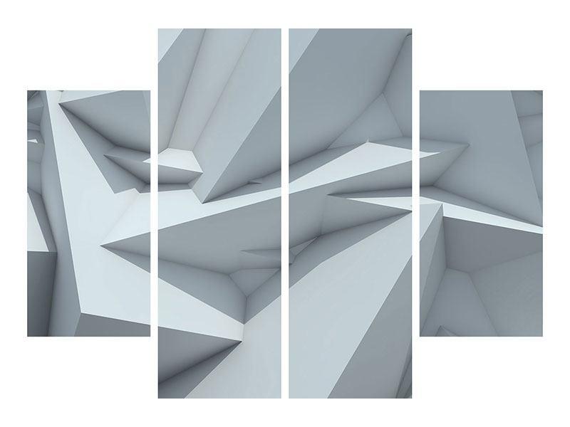 Aluminiumbild 4-teilig 3D-Kristallo