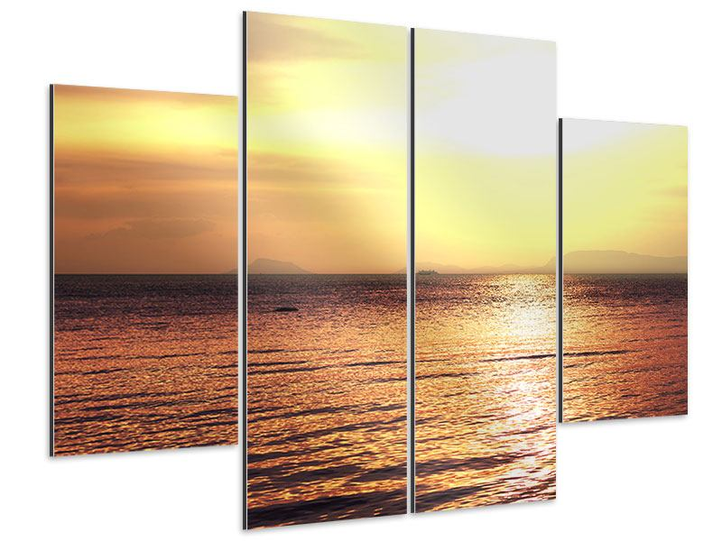 Aluminiumbild 4-teilig Sonnenuntergang an der See