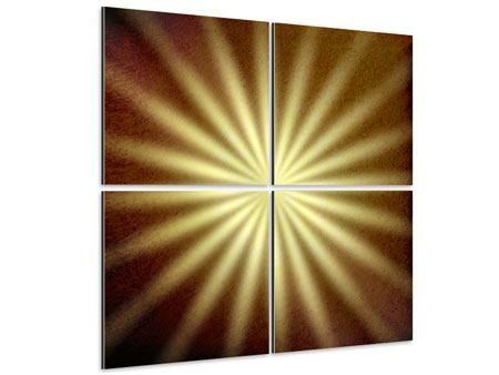 Aluminiumbild 4-teilig Abstrakte Sonnenstrahlen