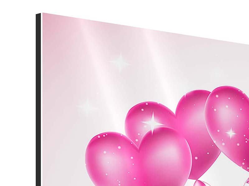 Aluminiumbild 4-teilig Herzballons