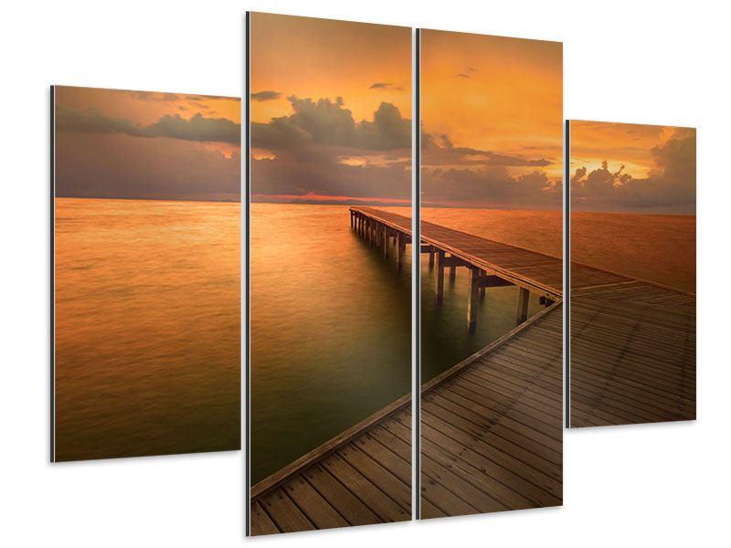 Aluminiumbild 4-teilig Der Steg am Meer