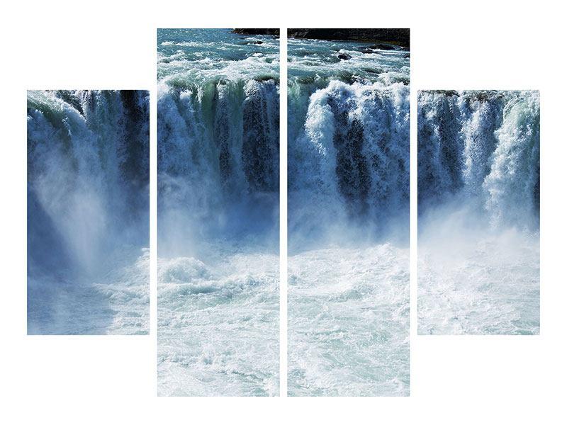 Aluminiumbild 4-teilig Mächtiger Wasserfall