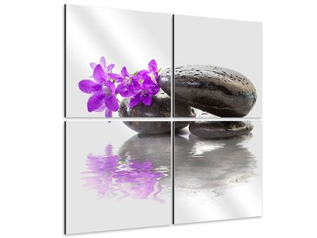 Aluminiumbild 4-teilig Feng Shui Steine