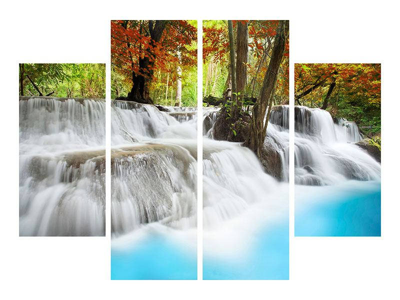 Aluminiumbild 4-teilig Erawan Wasserfall