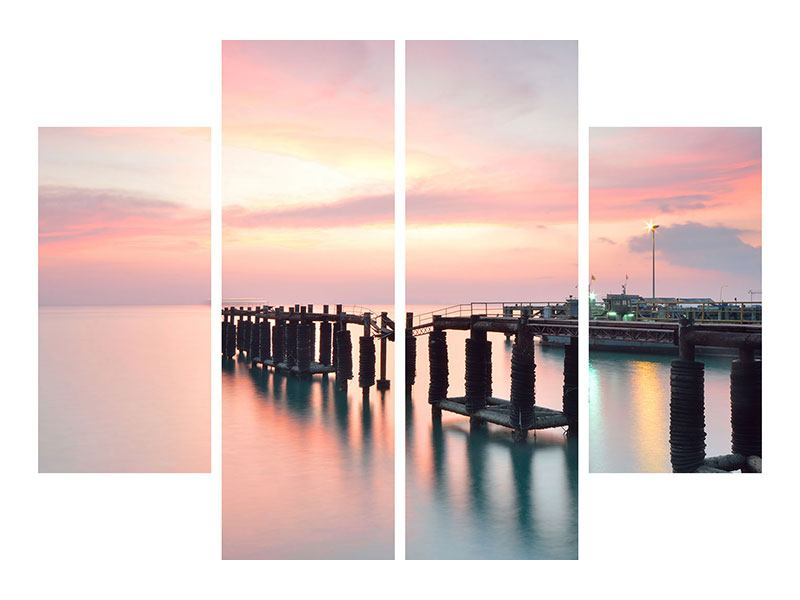 Aluminiumbild 4-teilig Der beruhigende Sonnenuntergang