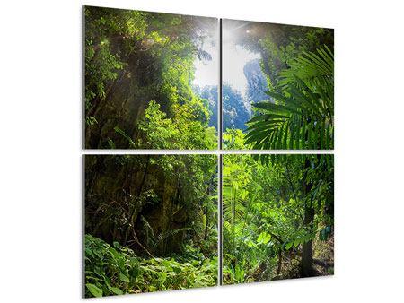 Aluminiumbild 4-teilig Lichtung im Dschungel