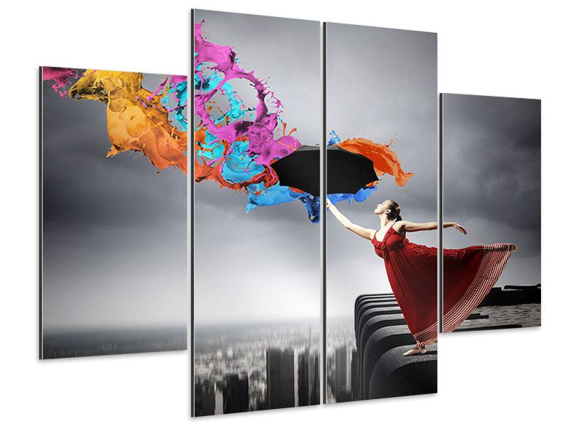 Aluminiumbild 4-teilig Tanz auf dem Wolkenkratzer