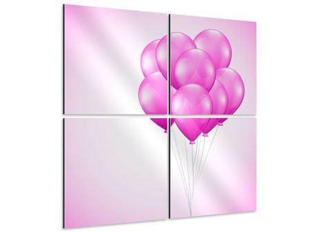 Aluminiumbild 4-teilig Rosarote Luftballons