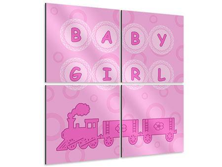 Aluminiumbild 4-teilig Baby-Girl