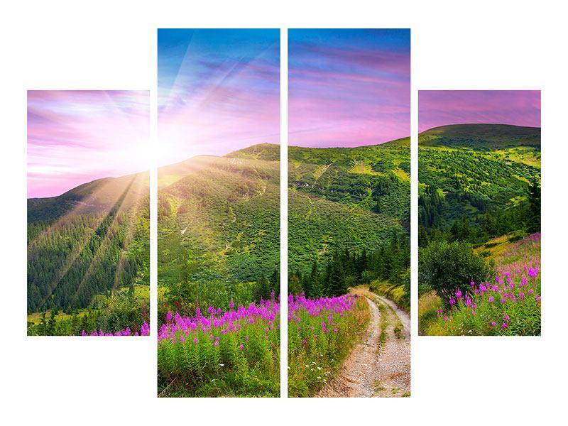Aluminiumbild 4-teilig Eine Sommerlandschaft bei Sonnenaufgang