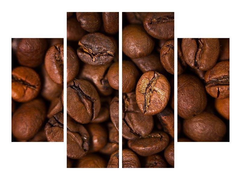 Aluminiumbild 4-teilig Close Up Kaffeebohnen