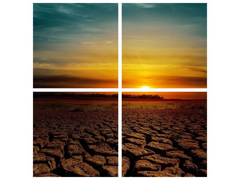 Aluminiumbild 4-teilig Afrikas Dürre
