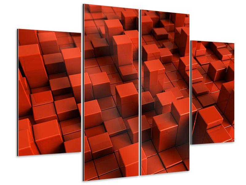 Aluminiumbild 4-teilig 3D-Rechtkant