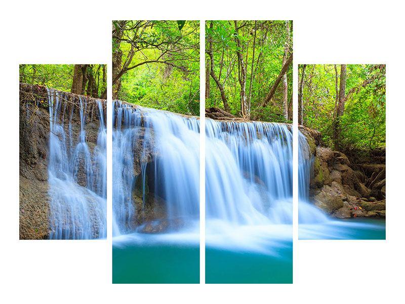 Aluminiumbild 4-teilig Wasserfall Si Nakharin
