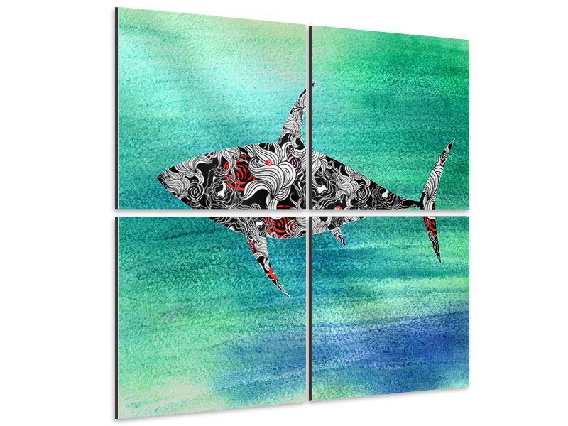 Aluminiumbild 4-teilig Haifisch-Ornament