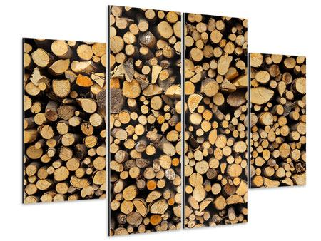 Aluminiumbild 4-teilig Brennholz