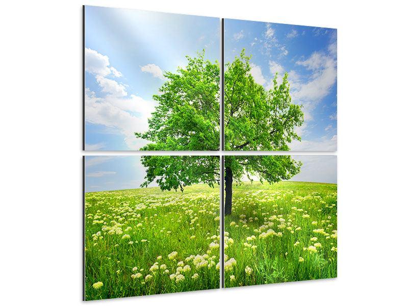 Aluminiumbild 4-teilig Der Baum