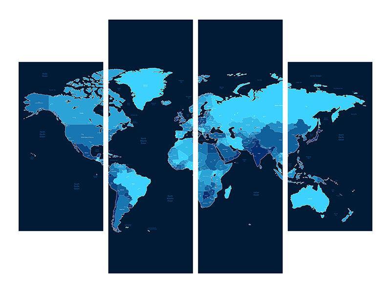 Aluminiumbild 4-teilig Weltkarte
