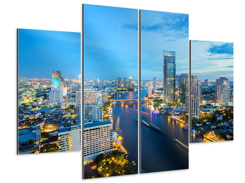 Aluminiumbild 4-teilig Skyline Bangkok in der Abenddämmerung