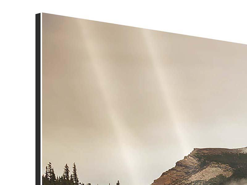 Aluminiumbild 4-teilig Spiegelung im Glacier Nationalpark