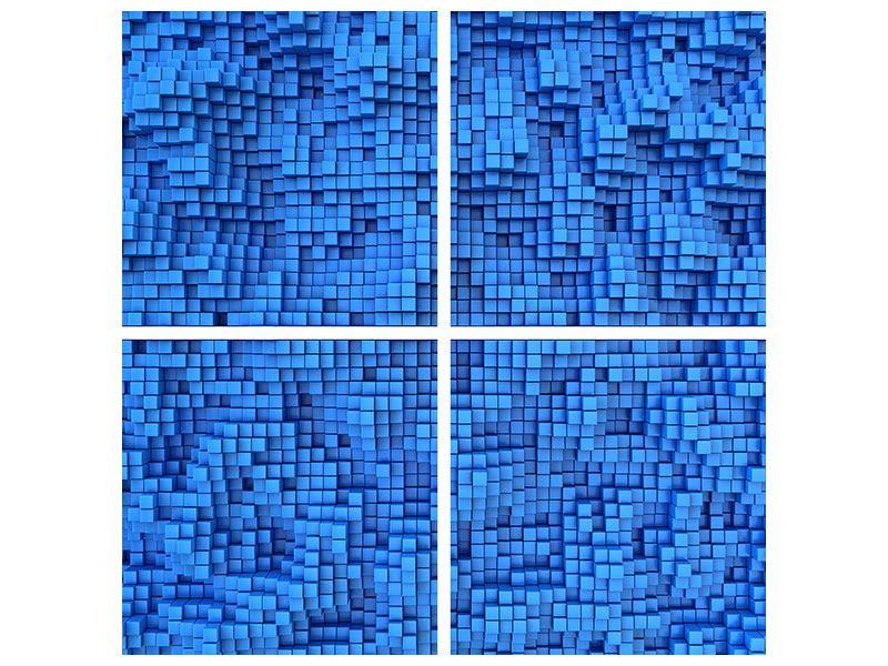 Aluminiumbild 4-teilig 3D-Mosaik