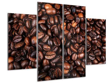 Aluminiumbild 4-teilig Kaffeebohnen in XXL