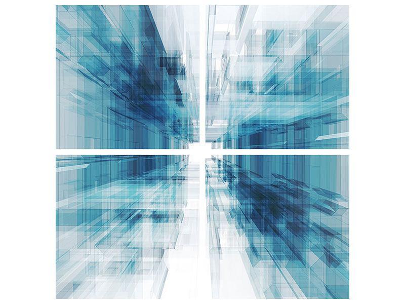 Aluminiumbild 4-teilig Abstrakte Raumerweiterung