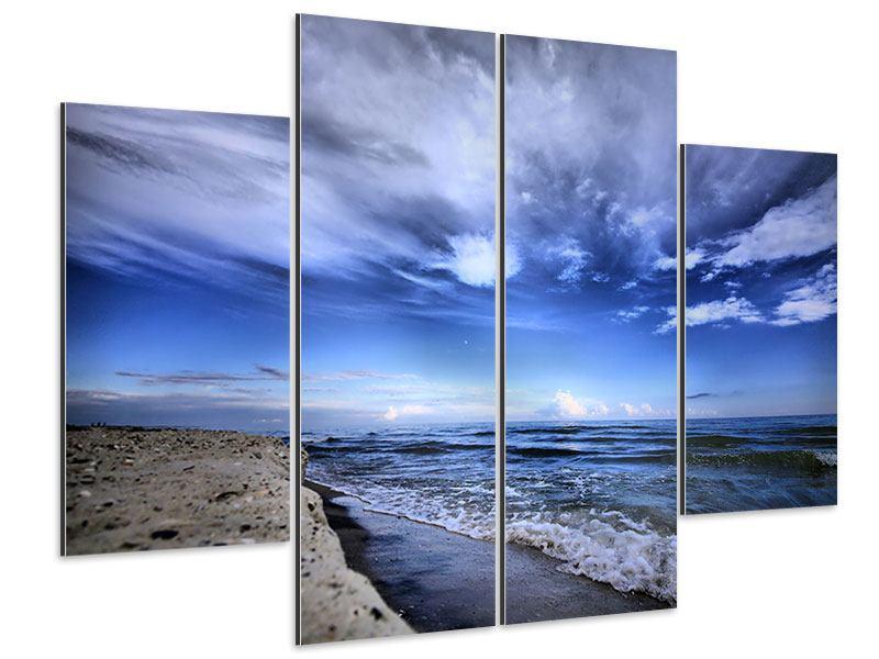 Aluminiumbild 4-teilig Strandwellen