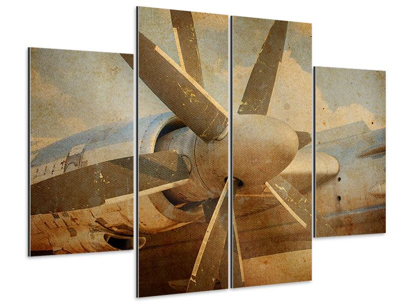 Aluminiumbild 4-teilig Propellerflugzeug im Grungestil