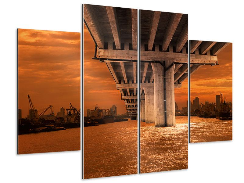 Aluminiumbild 4-teilig Die Brücke