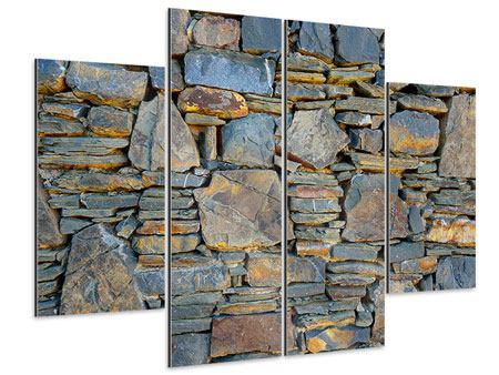 Aluminiumbild 4-teilig Natürliche Steinmauer