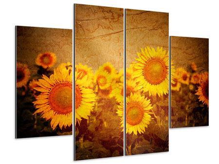 Aluminiumbild 4-teilig Retro-Sonnenblumen