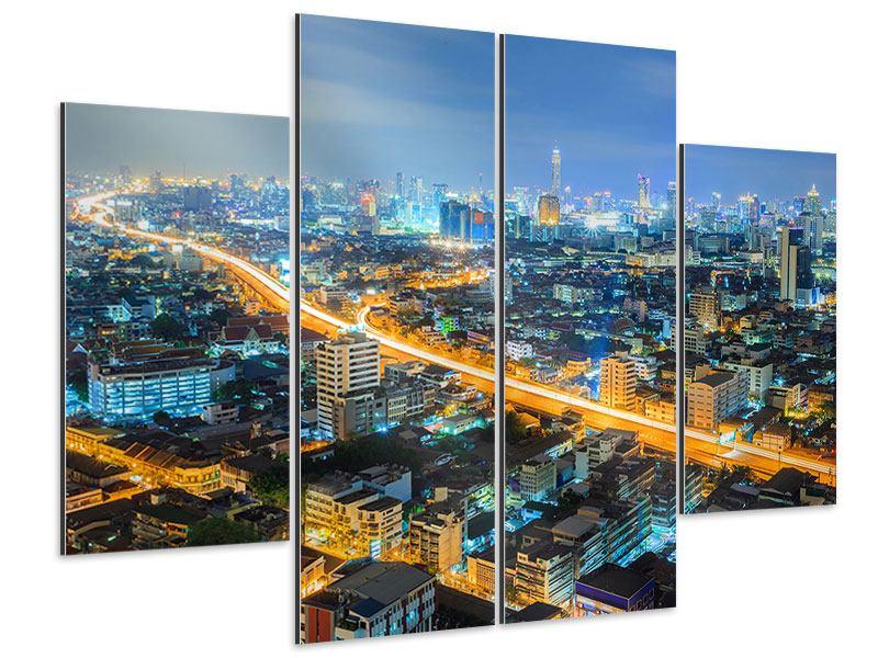 Aluminiumbild 4-teilig Skyline Bangkok im Fieber der Nacht