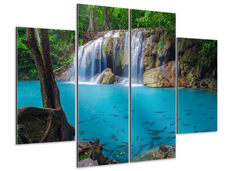Aluminiumbild 4-teilig Naturerlebnis Wasserfall