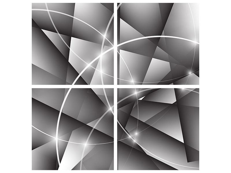 Aluminiumbild 4-teilig Geometrie