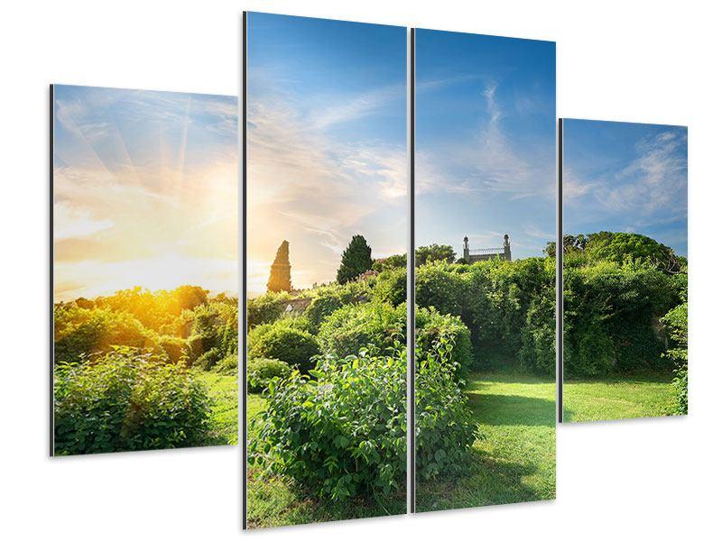 Aluminiumbild 4-teilig Sonnenaufgang im Park