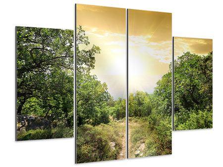 Aluminiumbild 4-teilig Am Ende des Waldes