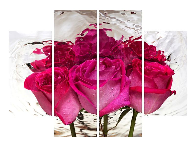 Aluminiumbild 4-teilig Die Rosenspiegelung